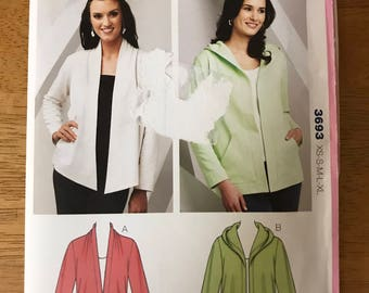 Kwik Sew 3693 - Cardigan with Hood and Shaped Hem Options - Size XS S M L XL
