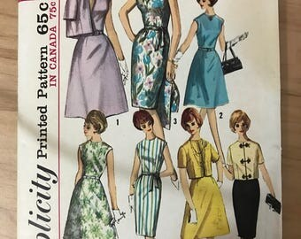 Simplicity 5398 - 1960s Seven Way Wardrobe with A-Line and Straight Dress, and Jacket - Size 13 Bust 33