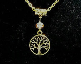 Tree Of Life Necklace Gold Tone, Free Shipping