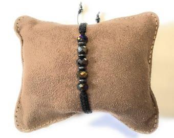 Bohemian bracelet crystals, Boho Jewelry, Black Macrame Cord, Crystals Bracelet, Adjustable bracelet for women, friendship bracelet macrame