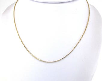14k Yellow Gold Box Necklace - 14k Yellow Gold Box Chain 16 1/4 Inches 3.1 g