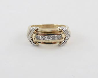 14K Yellow Gold Diamond Band, 14k  White Gold Diamond Ring, Diamond Wedding Band