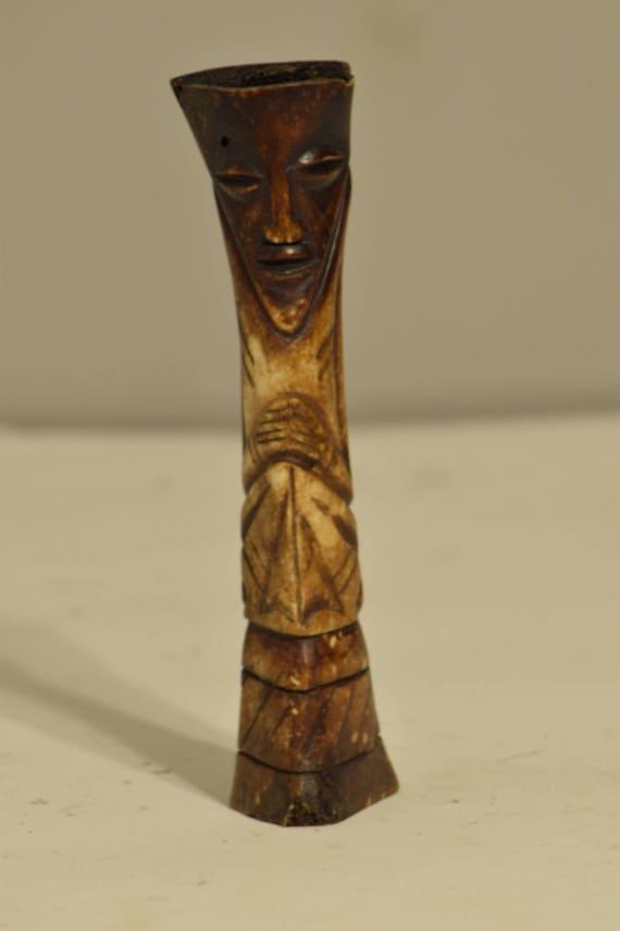 Fetish African Lega Bone Fertility Zaire Handmade Vintage Carved Abstract Fertility Status Lega Bone Figure