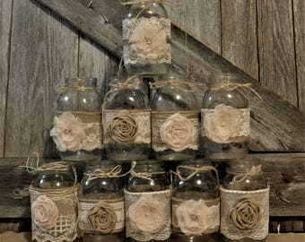 Wedding Centerpieces, Rustic Wedding, Bridal Shower Decorations, Burlap Wedding, Burlap and Lace Jars, Jars not Included, Bridal Shower
