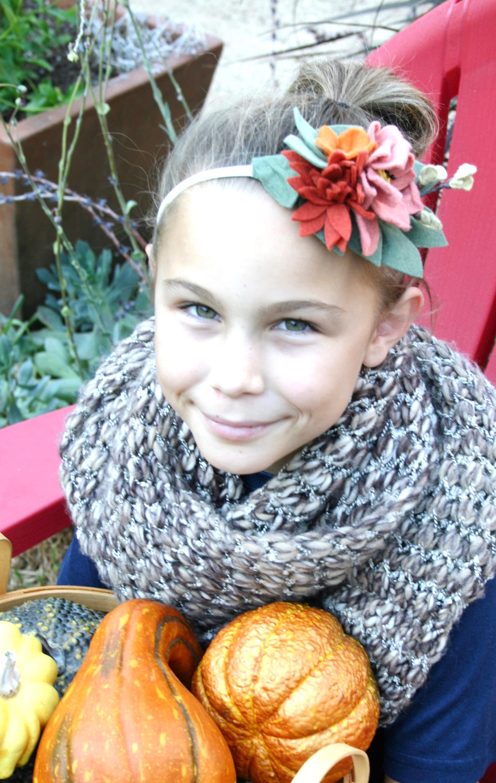 Floral Crown Felt Headband Fall Flower Hair Wreath Kids Flower