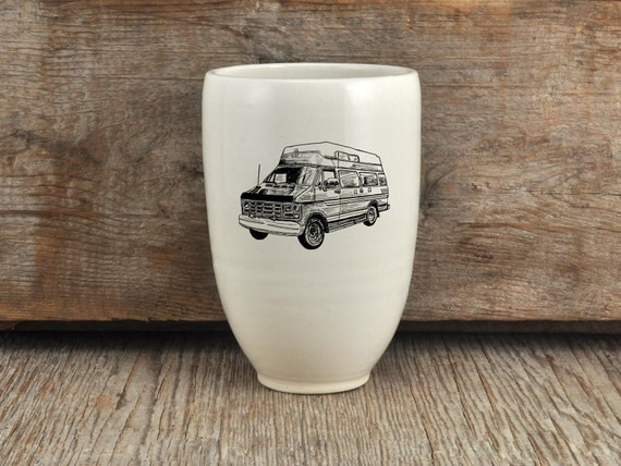 Porcelain beer tumbler with vintage campwagon drawing by Cindy Labrecque
