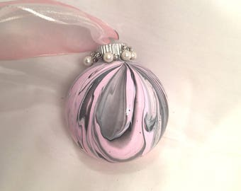 Pink and Black Acrylic Pour Swirl Hand Painted Glass Christmas Ornament Rhinestones Pearls Ribbon