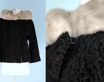 1960s Black Coat with Grey Fur Collar // 60s Persian Lambswool Flare Swing Coat