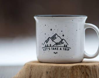 Adventure Mug Let's Take A Trip Campfire Coffee Mug // Adventure Campfire Mug Travel Campfire Mug Enamel Mug Farmhouse Coffee Mug