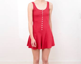 90s Red Button Up Romper Size Small