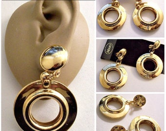 Monet Barrel Ring Hoops Clip On Earrings Gold Tone Vintage Large Round Buttons Wide Flat Polished Band Comfort Paddles