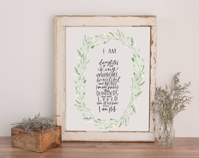Featured listing image: Daughter of the King || 11x14 CUSTOM Hand Lettered Print