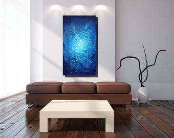 Extra Large Wall Art / Blue Textured Painting / Blue Wall Art / Canvas Art In Blue / Wall Sculpture / Large Acrylic Painting / Made To Order