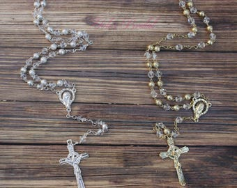 FAST SHIPPING! Beautiful Silver or Gold Rosary, Wedding Rosary, Communion Rosary, Christening Rosary, Confirmation Rosary, Rosary Gift