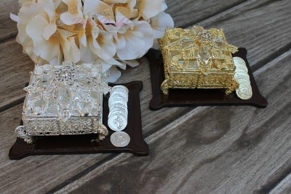 NEW!! Silver Wedding Arras,Ring Box, Arras de Boda, Unity Coins, Treasurer Chest Wedding Arras, Silver Wedding Arras, 13 wedding Unity Coins