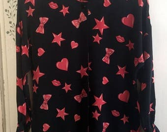 Vintage 80s Escada Black Silk Blouse with Red Star Heart Bow and Lip print sz M L