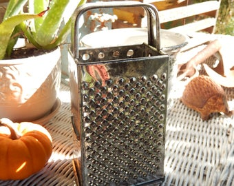 Vintage Metal Cheese Vegetable Grater, Small slicer, 4 sided Bromco Look-a-like, Farmhouse Country Kitchen, RascalsRarities