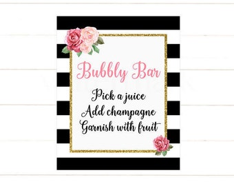 Bubbly Bar Sign, Gold Mimosa Bar Sign, Floral Bubbly Bar Sign, Pink Flowers  Instant Download PDF Printable