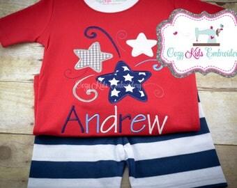 Summer Pajamas, Fourth of July Pajamas, Patriotic Pajamas, Boy Pajamas, Girl Pajamas, Firework Star Pajamas, Custom Embroidery Applique