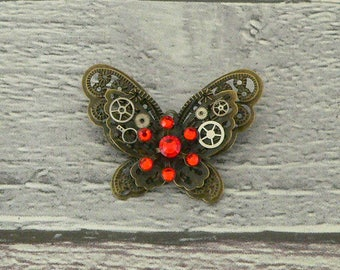 Orange Steampunk Butterfly Brooch, Steampunk Brooch, Steampunk Pin, Butterfly Pin, Butterfly Jewellery, Steampunk Jewellery