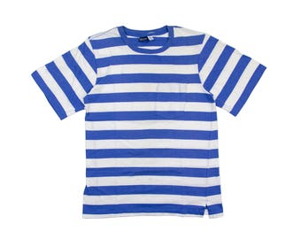 BLUE STRIPED TEE  blue and white striped tshirt / basic striped shirt / lands end / made in usa / gift for her / vintage / womens / medium