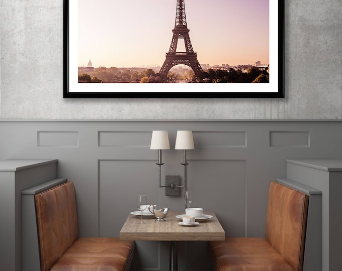 Featured listing image: Picture of the Eiffel Tower under a Pink Sky - Paris - France - Photography + Black Frame - Wall decoration