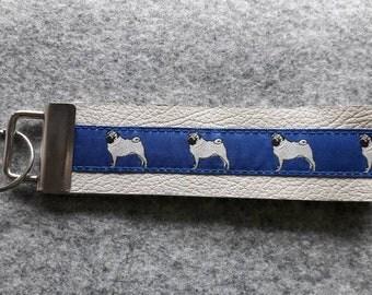 Key Fob - Leather - Pug