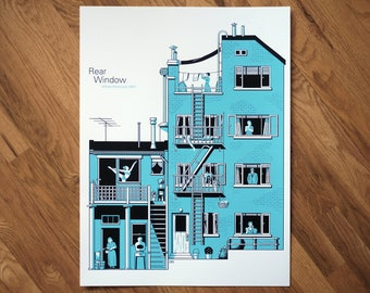 """Alfred Hitchcock Screenprint Poster of his Suspense Classic """"Rear Window."""" Limited Edition, Two Color Print [18x24""""]"""