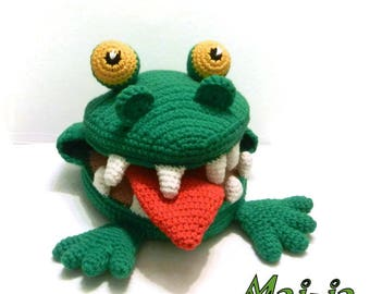 Crocodile Toy, Crocodile Crocheted, Green Crocodile, Amigurumi Crocodile, toy developing, toy for employment, for development of speech