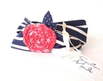 Twist Headband, Navy Blue Stripe Headband with Handmade Red Rose, Mariners Headband, Retro Beach Headwrap, Boho Chic Woman, Baby Turban