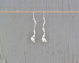 Sterling Silver Twist Earrings, 925 Sterling Silver Drop