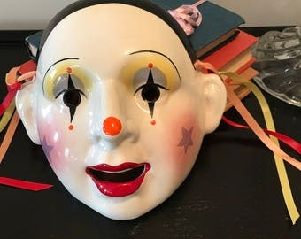 Large Vintage Whimsical Porcelain About Face Mardi Gras Mask Clown Mask Theatre Collectible  Wall Decor