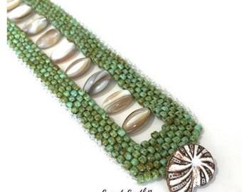 Peyote Seed Bead Bracelet, Open Center Peyote Cuff, Peyote Bracelet, Unique Jewelry, Bech Jewelry, Shell Cuff, Unique Bracelet, Picasso Cuff
