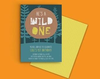He's a Wild One, First Birthday Invitation, Custom Printable