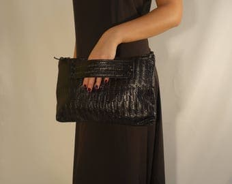 Pattern Leather Clutch For Women's,  Black Leather Clutch, Handmade Leather Handbag , Large Leather Clutch, Unique black leather Purse