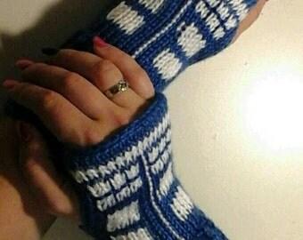 Dr. Who Tardis Fingerless Gloves Wrist Warmers