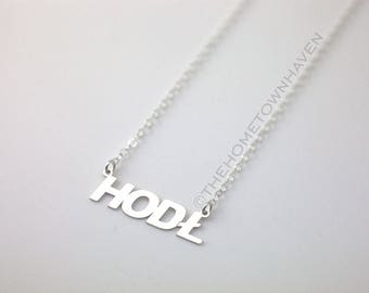 HODL necklace, Hold on for dear life, Crypto Enthusaist gift, Bitcoin, Litecoin, Ethereum necklace