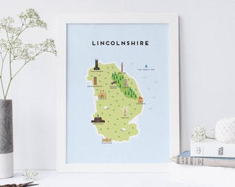 Map of Lincolnshire - Illustrated Map of Lincolnshire