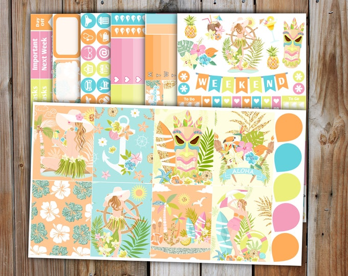 Planner Sticker DELUXE KIT (7 Pages) | ALOHA Summer Planner Stickers Kit for use with Erin Condren Life Planner