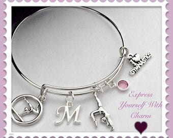 Gymnastics Bracelet, Gymnastics Bangle Bracelet, Gymnastics Gift, Girls jewelry, Gymnastics Personalized Charm Bracelet, Birthstone Bracelet
