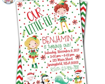 Elf Birthday Invitation, Christmas Birthday Invitation, Elf Invitation, Christmas Birthday Party, Elf Party, Christmas Party