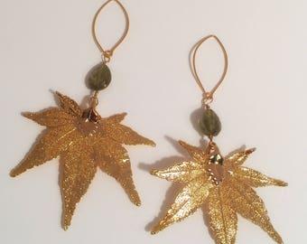 Gold and Peridot Leaf Earrings