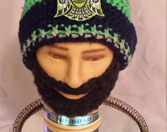Seattle SEAHAWKS Bearded Beanies, 12th Man Seahawks Embroidered Patch,Hook and Loop Fasteners Both Sides Beard&Beanie 2Remove Beard
