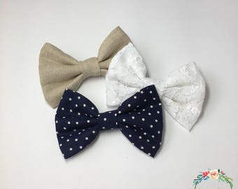Natural Linen, White Lace, and Navy Polka Dot Hair Bow