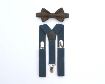 Brown Bow Tie and Navy Suspenders -- Boys Bow Tie & Suspenders -- Mens Bow Tie Suspenders
