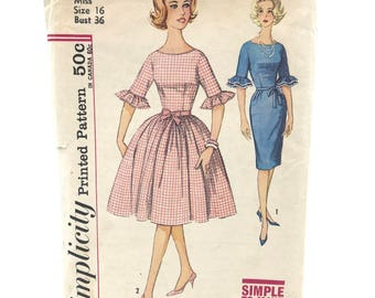 Vintage Simplicity 4254 Womens One Piece Dress with Straight or Flared Skirt Size 16 Bust 36 Uncut Sewing Pattern
