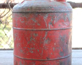 Vintage 5 Gallon Metal Oil Gas Can With Handle Orange Rustic Industrial