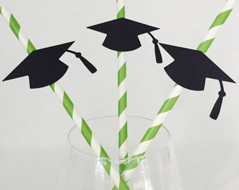 12 Graduation Cap Party Straws - Cap and Gown - Graduation Party - Grad Party - Party Decor - High School - College - Kindergarten
