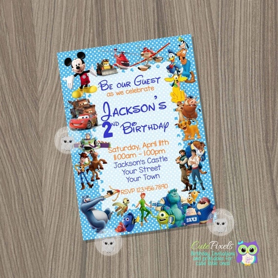 Disney Invitation Disney Boy Invitation Disney Characters