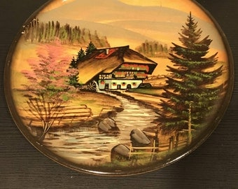 Vintage Hand Painted Wooden Plate Art Wall Hanging
